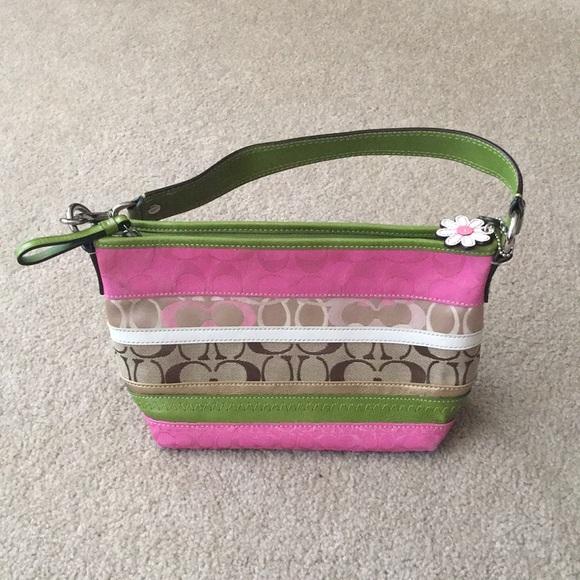 Coach Handbags - Pink and Green coach purse!